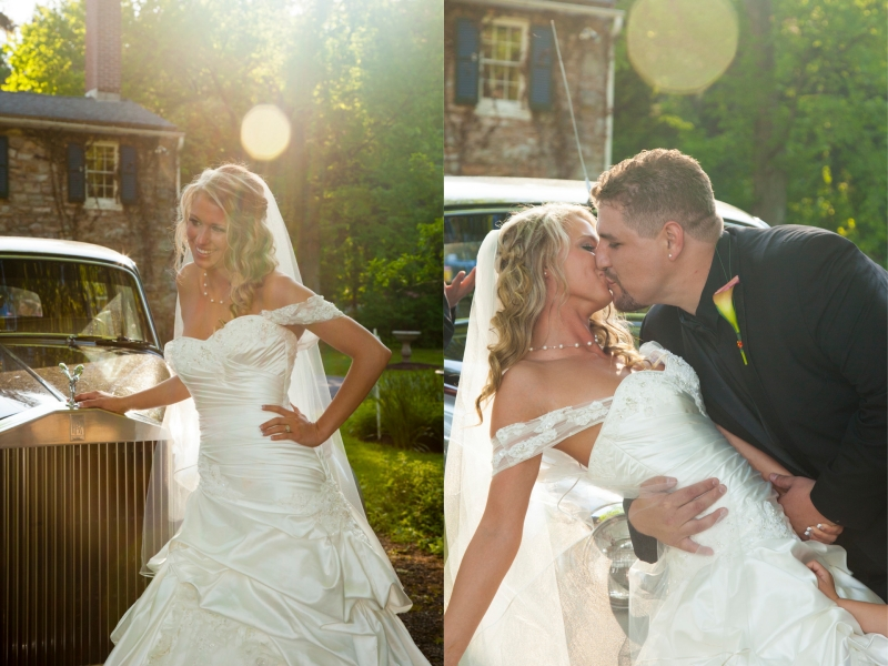 bride-in-sun-rays-and-dipping-kiss